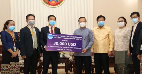 VIET LAO POWER JOINT STOCK COMPANY SUPPORTS LAOS GOVERNMENT, JOINING HAND AGAINST COVID - 19 IN LAO PEOPLE'S DEMOCRATIC REPUBLIC.