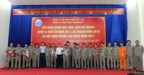Công ty TNHH Điện Xekaman 1 tổ chức Hội nghị đánh giá thực hiện Kế hoạch sản xuất kinh doanh và đầu tư năm 2017, triển khai Kế hoạch năm 2018 và Hội nghị Người lao động năm 2017